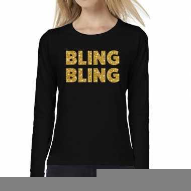 Zwart long sleeve t-shirt met gouden bling bling tekst voor dames kop