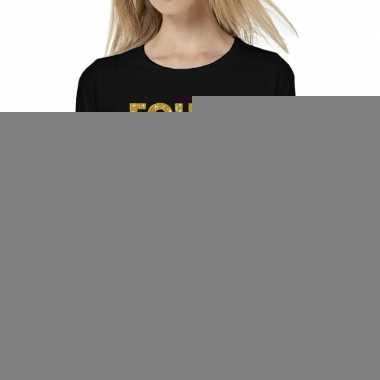 Zwart long sleeve t-shirt met gouden foute party tekst voor dames kop
