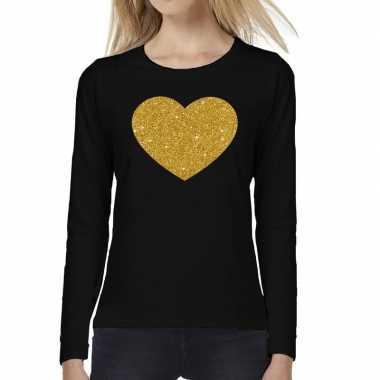 Zwart long sleeve t-shirt met gouden hart voor dames kopen