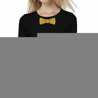 Zwart long sleeve t-shirt met gouden strikdas voor dames kopen