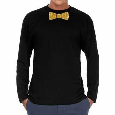 Zwart long sleeve t-shirt met gouden strikdas voor heren kopen