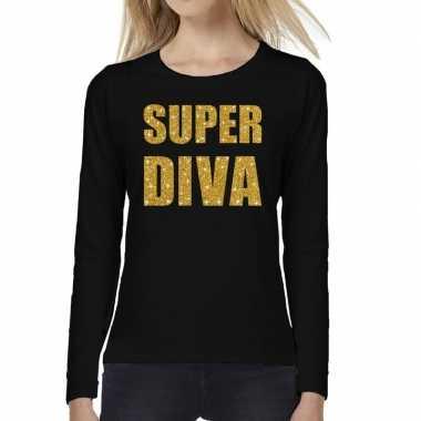 Zwart long sleeve t-shirt met gouden super diva tekst voor dames kope