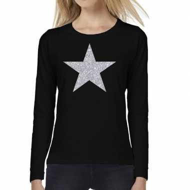 Zwart long sleeve t-shirt met zilveren ster voor dames kopen