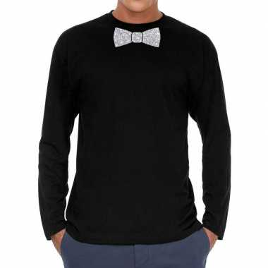 Zwart long sleeve t-shirt met zilveren strikdas voor heren kopen