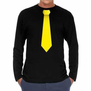 Zwart long sleeve t-shirt zwart met gele stropdas bedrukking heren ko