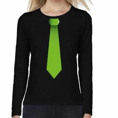 Zwart long sleeve t-shirt zwart met groene stropdas bedrukking dames
