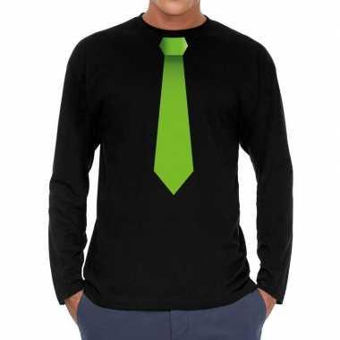 Zwart long sleeve t-shirt zwart met groene stropdas bedrukking heren
