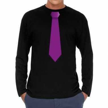 Zwart long sleeve t-shirt zwart met paarse stropdas bedrukking heren