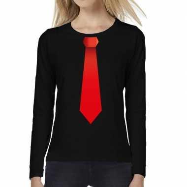 Zwart long sleeve t-shirt zwart met rode stropdas bedrukking dames ko