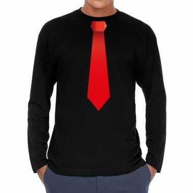 Zwart long sleeve t-shirt zwart met rode stropdas bedrukking heren ko