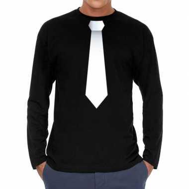 Zwart long sleeve t-shirt zwart met witte stropdas bedrukking heren k