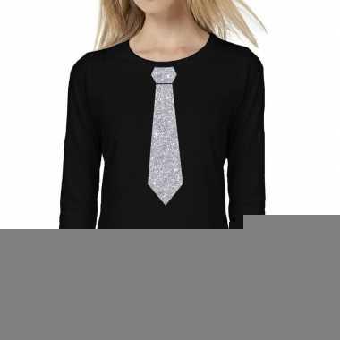 Zwart long sleeve t-shirt zwart met zilveren glitter stropdas bedrukk