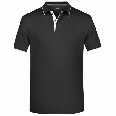 Zwart/wit premium poloshirt golf pro voor heren kopen