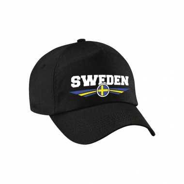 Zweden / sweden landen pet / baseball cap zwart voor kinderen kopen