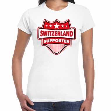 Zwitserland / switzerland supporter t-shirt wit voor dames kopen