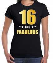 16 and fabulous verjaardag cadeau shirt kleding 16 jaar zwart met goud voor dames kopen
