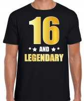 16 and legendary verjaardag cadeau shirt kleding 16 jaar zwart met goud voor heren kopen