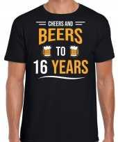 16 jaar cadeau shirt cheers and beers zwart voor heren kopen
