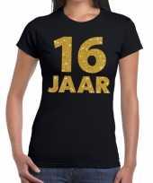 16 jaar fun t-shirt met gouden tekst zwart voor dames kopen