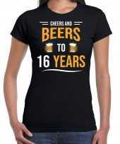 16e verjaardag kado shirt cheers and beers zwart voor dames kopen
