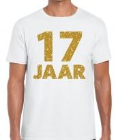17e verjaardag cadeau t shirt wit met goud voor heren kopen