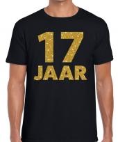 17e verjaardag cadeau t shirt zwart met goud heren kopen