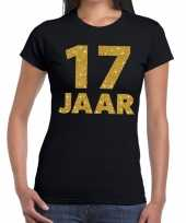 17e verjaardag cadeau t shirt zwart met goud voor dames kopen