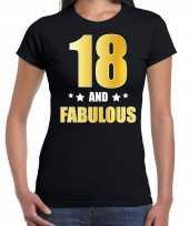 18 and fabulous verjaardag cadeau shirt kleding 18 jaar zwart met goud voor dames kopen