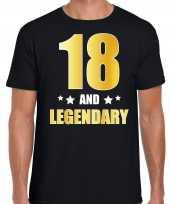 18 and legendary verjaardag cadeau shirt kleding 18 jaar zwart met goud voor heren kopen