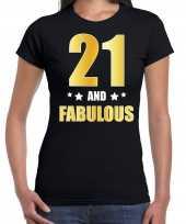 21 and fabulous verjaardag cadeau shirt kleding 21 jaar zwart met goud voor dames kopen