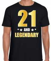 21 and legendary verjaardag cadeau shirt kleding 21 jaar zwart met goud voor heren kopen