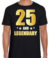 25 and legendary verjaardag cadeau shirt kleding 25 jaar zwart met goud voor heren kopen