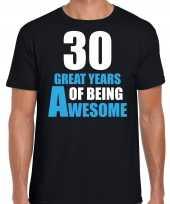 30 great awesome years t-shirt 30 jaar verjaardag shirt zwart voor heren kopen