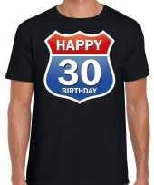 30e verjaardag happy birthday shirt kleding route bord 30 jaar zwart voor heren kopen