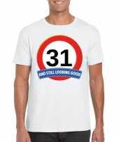 31 jaar verkeersbord t-shirt wit heren kopen