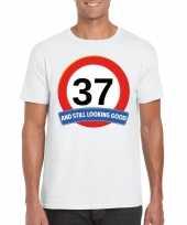 37 jaar verkeersbord t-shirt wit heren kopen