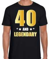40 and legendary verjaardag cadeau shirt kleding 40 jaar zwart met goud voor heren kopen
