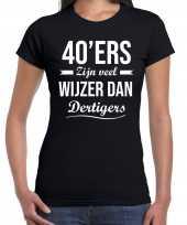 40 jaar verjaardags shirt kleding 40ers zijn veel wijzer dan dertigers zwart voor dames kopen
