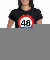 48 jaar verkeersbord t-shirt zwart dames kopen