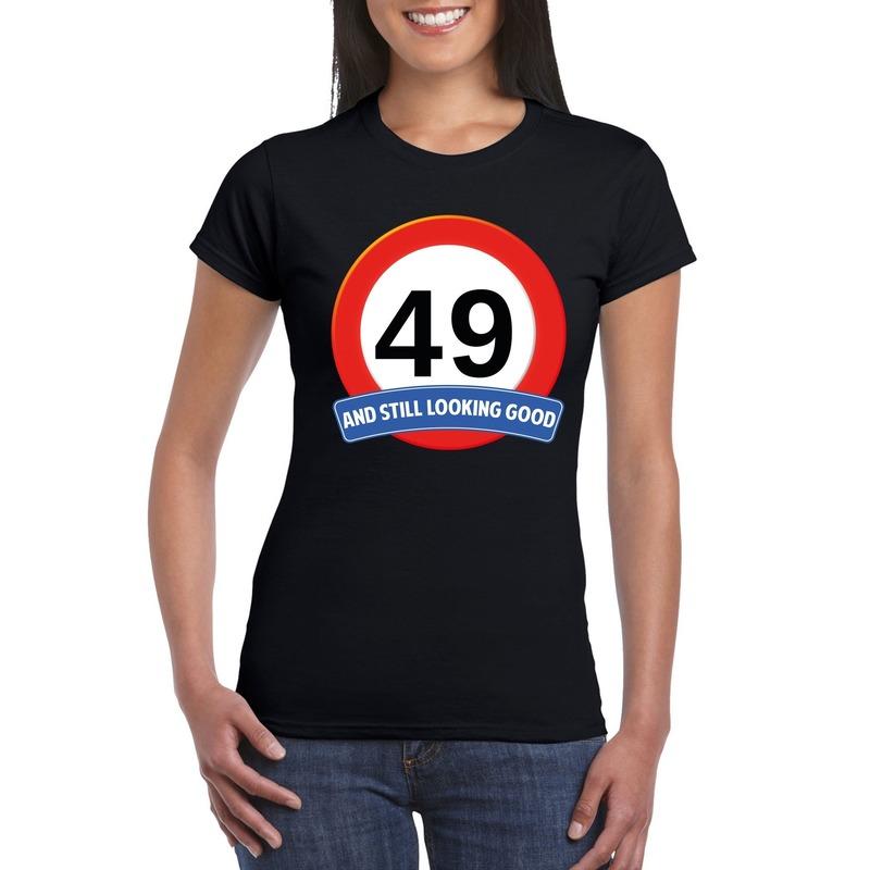 49 jaar verkeersbord t-shirt zwart dames kopen