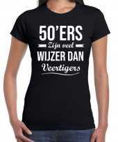 50 jaar sarah verjaardags shirt kleding 50ers zijn veel wijzer dan veertigers zwart voor dames kopen