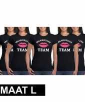 5x vrijgezellenfeest-shirt zwart voor dames maat l kopen