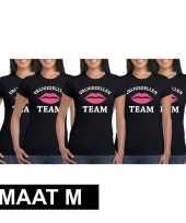 5x vrijgezellenfeest-shirt zwart voor dames maat m kopen