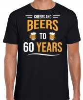 60 jaar cadeau shirt cheers and beers zwart voor heren kopen