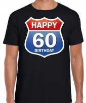 60e verjaardag happy birthday shirt kleding route bord 60 jaar zwart voor heren kopen