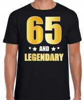 65 and legendary verjaardag cadeau shirt kleding 65 jaar zwart met goud voor heren kopen