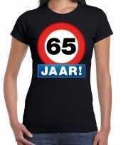 65e verjaardag stopbord shirt kleding 65 jaar zwart voor dames kopen