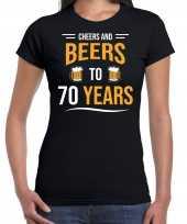 70e verjaardag kado shirt cheers and beers zwart voor dames kopen