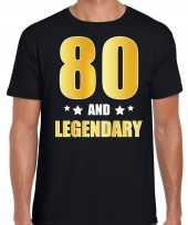 80 and legendary verjaardag cadeau shirt kleding 80 jaar zwart met goud voor heren kopen