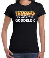 80 jaar verjaardag shirt zwart dames tachtig en goddelijk cadeau t-shirt kopen